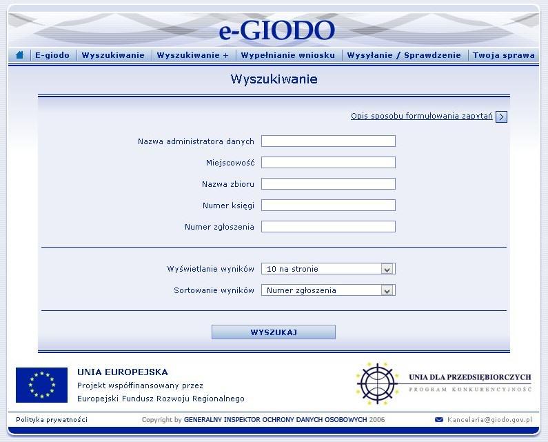 Wyszukiwarka na stronie GIODO
