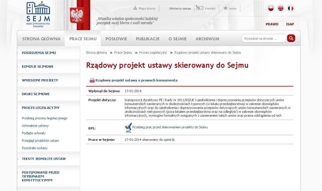 Projekt ustawy o prawach konsumentów skierowany został do Sejmu!